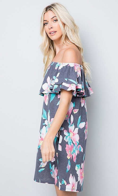 Image of floral print short casual dress with ruffle. Style: LAS-SWE-21-SD5130FL Detail Image 2