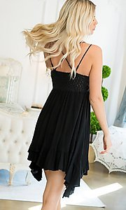 Image of empire waist crochet lace short casual party dress. Style: LAS-SWE-21-SW506 Back Image