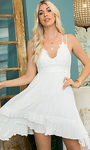 Image of empire waist crochet lace short casual party dress. Style: LAS-SWE-21-SW506 Detail Image 3