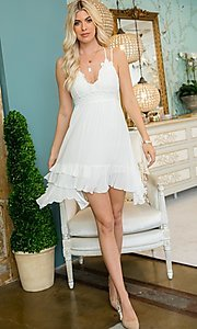 Image of empire waist crochet lace short casual party dress. Style: LAS-SWE-21-SW506 Front Image