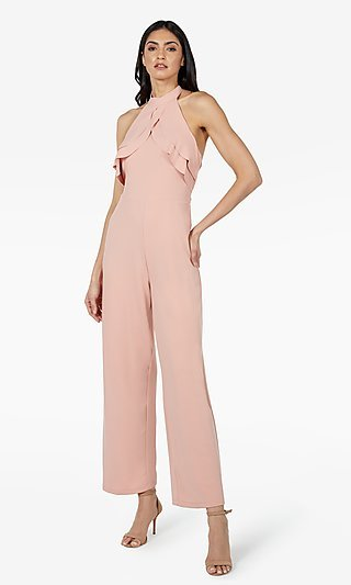 High-Neck Halter Double-Ruffle Formal Jumpsuit