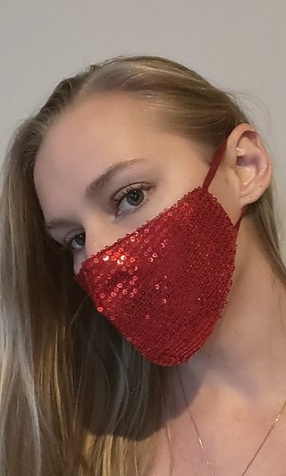 Red Sequin Face Mask for Prom