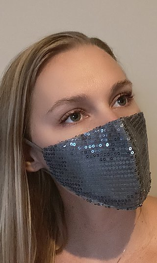 Dark Silver Grey Sequin Face Mask for Prom