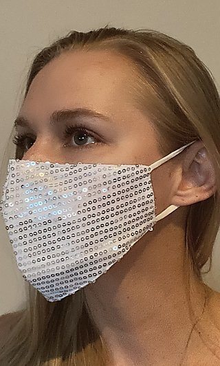 White Formal Face Mask with Silver Sequins