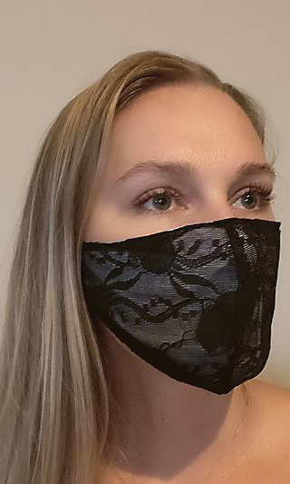 Black Lace Prom Face Mask
