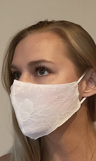 White Lace Face Mask for Weddings or Formals