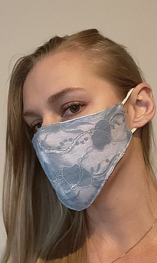 Blue Lace Prom Face Mask