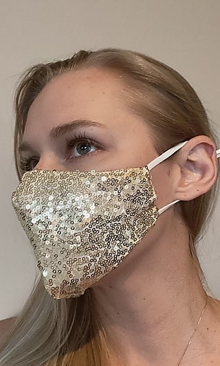 Gold Sequin Adjustable Face Mask for Prom