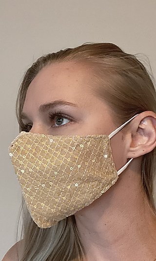 Gold Fancy Face Mask with Criss-Criss Sequins