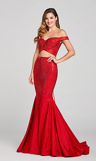 Two-Piece Stone-Accented Long Mermaid Prom Dress