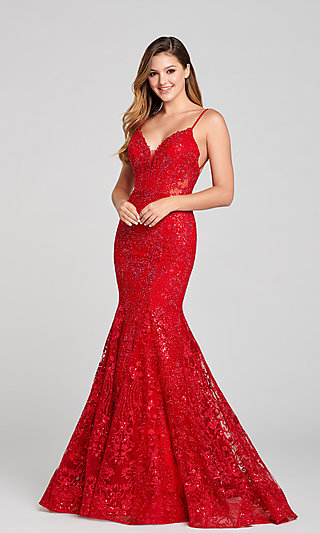 Ruby Red Mermaid Long Prom Dress by Ellie Wilde