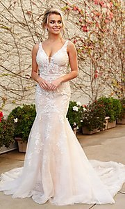 Image of illusion-lace white mermaid long formal dress. Style: NA-21-H493 Front Image