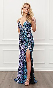 Image of backless long prom dress with multi-color sequins. Style: NA-21-R427 Front Image