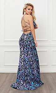 Image of backless long prom dress with multi-color sequins. Style: NA-21-R427 Back Image