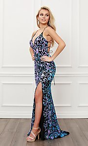 Image of backless long prom dress with multi-color sequins. Style: NA-21-R427 Detail Image 2