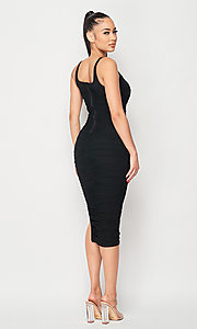 Image of ruched tight semi-formal midi party dress. Style: LAS-PRI-21-PD70584S Back Image