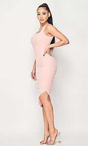 Image of ruched tight semi-formal midi party dress. Style: LAS-PRI-21-PD70584S Detail Image 1