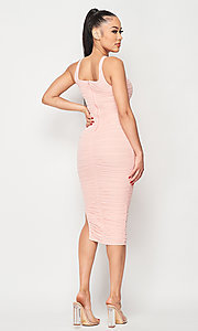 Image of ruched tight semi-formal midi party dress. Style: LAS-PRI-21-PD70584S Detail Image 2