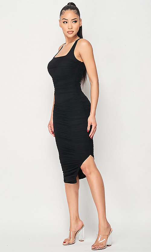 Image of ruched tight semi-formal midi party dress. Style: LAS-PRI-21-PD70584S Front Image