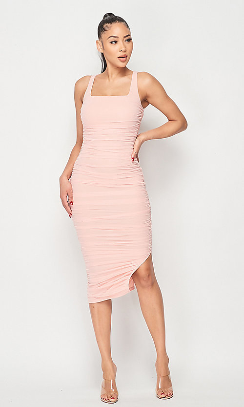 Image of ruched tight semi-formal midi party dress. Style: LAS-PRI-21-PD70584S Detail Image 3