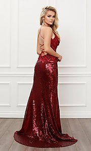 Image of burgundy red long sequin prom dress with appliques. Style: NA-21-R429 Back Image