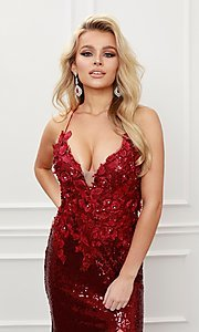 Image of burgundy red long sequin prom dress with appliques. Style: NA-21-R429 Detail Image 3