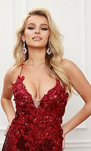 Image of burgundy red long sequin prom dress with appliques. Style: NA-21-R429 Detail Image 4
