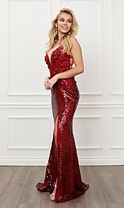 Image of burgundy red long sequin prom dress with appliques. Style: NA-21-R429 Detail Image 5