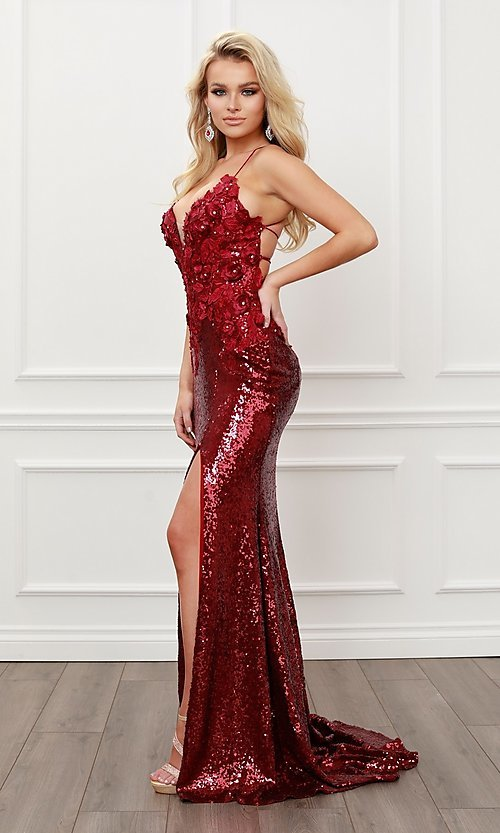 Image of burgundy red long sequin prom dress with appliques. Style: NA-21-R429 Detail Image 1