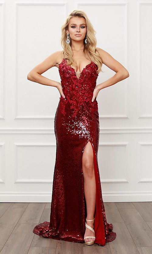 Image of burgundy red long sequin prom dress with appliques. Style: NA-21-R429 Front Image