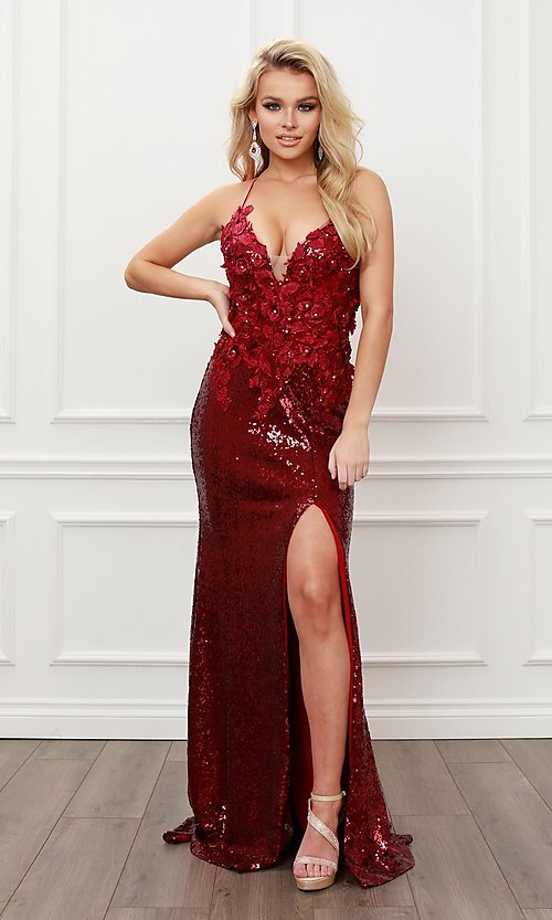 Image of burgundy red long sequin prom dress with appliques. Style: NA-21-R429 Detail Image 2
