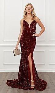Image of lace-up long sequin prom dress in burgundy red. Style: NA-21-R433 Front Image