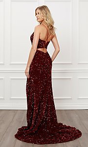 Image of lace-up long sequin prom dress in burgundy red. Style: NA-21-R433 Back Image