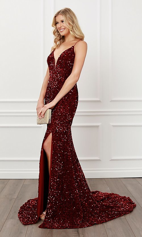 Image of lace-up long sequin prom dress in burgundy red. Style: NA-21-R433 Detail Image 1