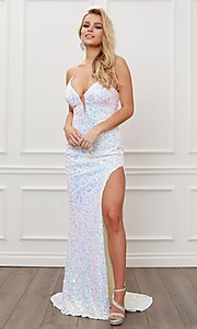 Image of long white prom dress with iridescent sequins. Style: NA-21-S458 Front Image