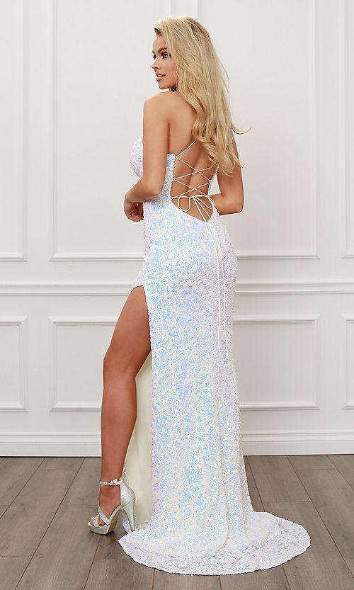 Image of long white prom dress with iridescent sequins. Style: NA-21-S458 Back Image