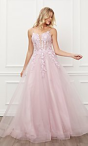 Image of blush pink embroidered sheer-corset prom ball gown. Style: NA-21-T449 Front Image