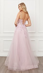 Image of blush pink embroidered sheer-corset prom ball gown. Style: NA-21-T449 Back Image