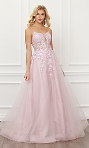 Image of blush pink embroidered sheer-corset prom ball gown. Style: NA-21-T449 Detail Image 4
