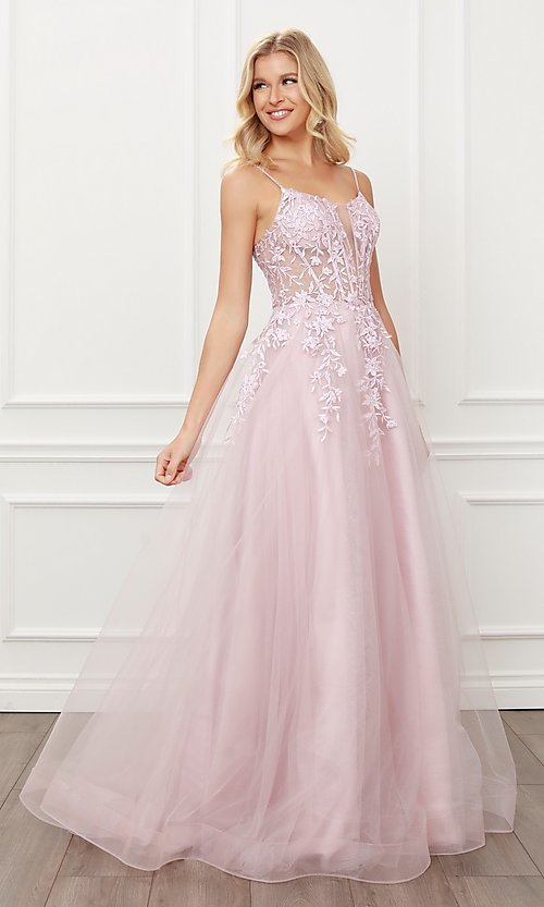 Image of blush pink embroidered sheer-corset prom ball gown. Style: NA-21-T449 Detail Image 3