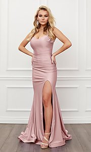 Image of sleek long strappy-back prom dress. Style: NA-21-T481 Detail Image 5