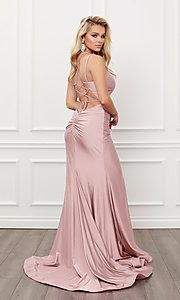 Image of sleek long strappy-back prom dress. Style: NA-21-T481 Detail Image 4