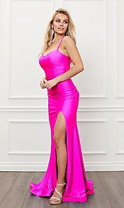 Image of sleek long strappy-back prom dress. Style: NA-21-T481 Detail Image 2