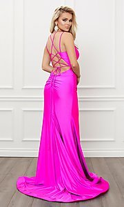 Image of sleek long strappy-back prom dress. Style: NA-21-T481 Detail Image 3