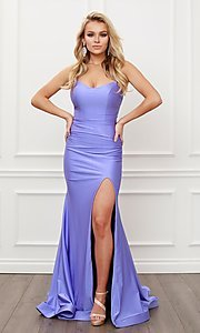 Image of sleek long strappy-back prom dress. Style: NA-21-T481 Detail Image 1