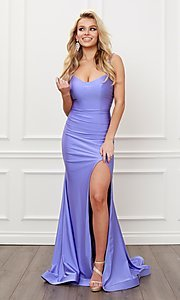 Image of sleek long strappy-back prom dress. Style: NA-21-T481 Front Image