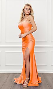 Image of sleek long strappy-back prom dress. Style: NA-21-T481 Detail Image 6