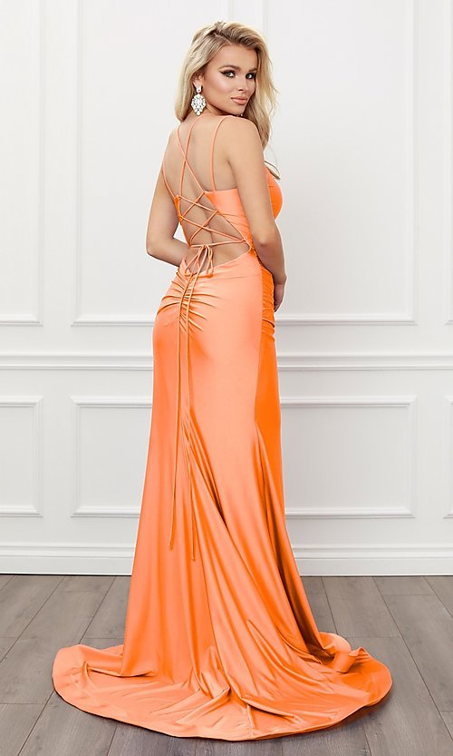 Image of sleek long strappy-back prom dress. Style: NA-21-T481 Detail Image 7