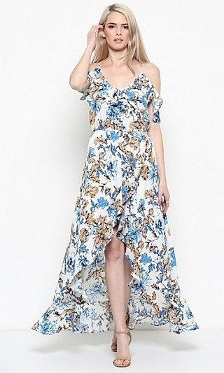 Floral Cold-Shoulder Casual High-Low Maxi Dress