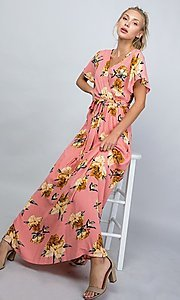 Image of coral pink floral print v-neck casual maxi dress. Style: LAS-ILL-21-D1460L Front Image